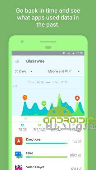 GlassWire – Data Usage Privacy | نرم افزار کنترل مصرف اینترنت در اندروید