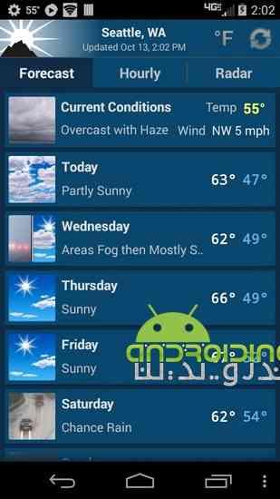 NOAA Weather Unofficial Pro | نرم افزار پیش بینی وضعیت آب و هوا در اندروید