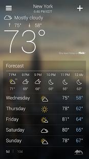 Yahoo! Weather برنامه پیش بینی وضع هوا یاهو