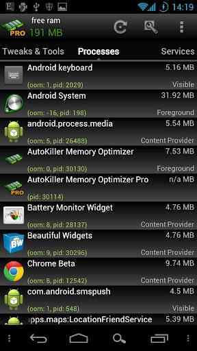 AutoKiller Memory Optimizer Pro - افزایش سرعت و کاهش مصرف باتری (تسک منیجر پیشرفته)